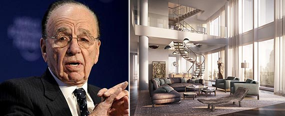 From left: Rupert Murdoch and the penthouse at One Madison