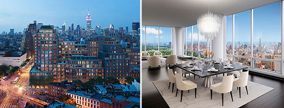 From left: A rendering of Greenwich Lane (Rudin Management) and a unit at One57