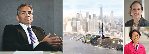 From left: David Weinreb, a rendering for the South Street Seaport redevelopment, Gale Brewer (top) and Margaret Chin