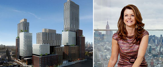 From left: rendering of Forest City Ratner's proposed rental towers (Credit: SHoP Architects) and Maryanne Gilmartin