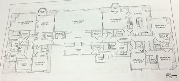 The floor plan for the 49th floor unit at 220 Central Park South (Click to enlarge | Photo: E.B. Solomont/The Real Deal)