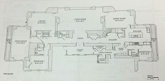 The floorplan for Penthouse 76 at 220 Park South (Click to enlarge | Photo: E.B. Solomont/The Real Deal)