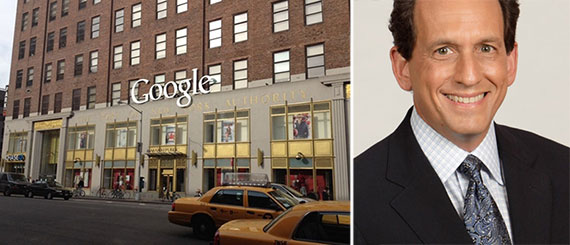From left: Google's headquarters at 111 Eighth Avenue and WebMD CEO David Schlanger
