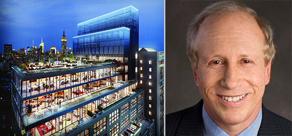 From left: Rendering of One Soho Square and Stellar Development's Larry Gluck