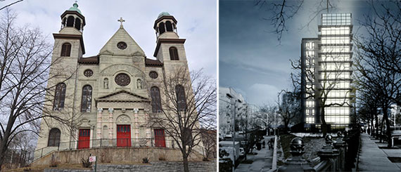 The former St. Augustine Church at 1180 Fulton Avenue in the Bronx and a rendering for the new apartments at the location