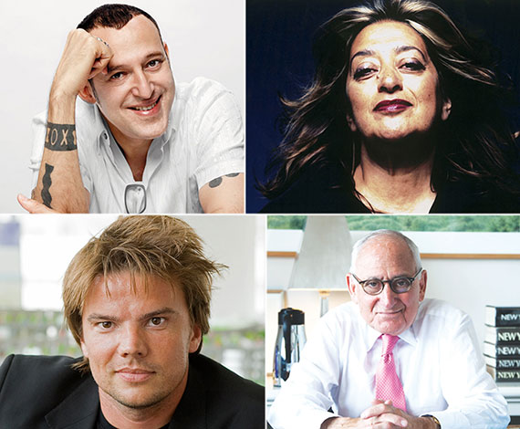 Clockwise from left: Karim Rashid, Zaha Hadid, Robert AM Stern and Bjarke Ingels