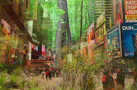 Times Square forest