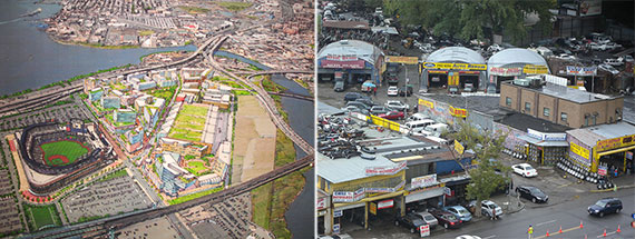From left: Rendering of the Willets Point redevelopment and automotive businesses at Willets Point