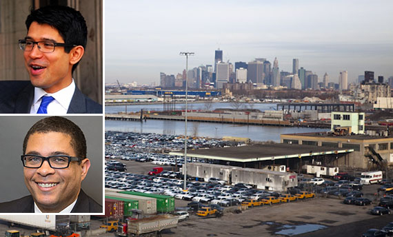 South Brooklyn Marine Terminal in Sunset Park (inset: Carlos Menchaca and EDC president Kyle Kimball)