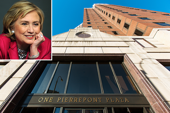 1 Pierrepont Plaza in Brooklyn Heights (inset: Hillary Clinton)