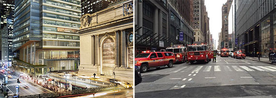 From left: A rendering of One Vanderbilt and emergency responders on Tuesday morning (Credit: Peter Moreno/Twitter)