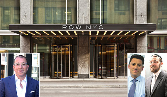 From left: Joseph Sitt (inset), the Row NYC Hotel at 700 Eighth Avenue, David Schechtman (inset) and Lipa Lieberman (inset)