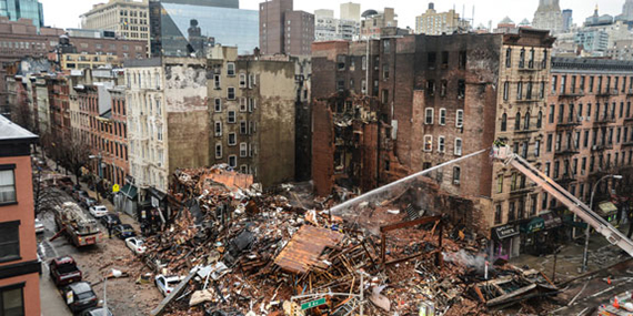 The site of the East Village explosion at 121 Second Avenue
