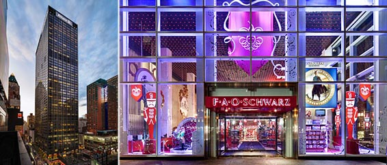 From left: 1633 Broadway in Midtown and FAO Schwarz facade at the GM Building