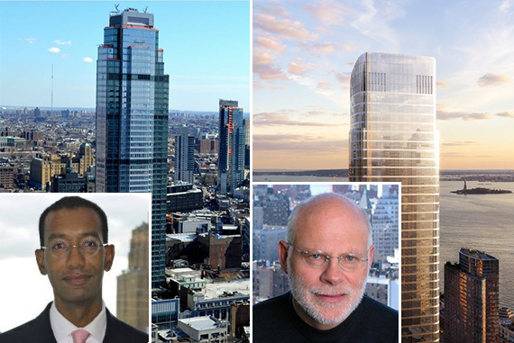 From left: Roger Fortune and 388 Bridge Street in Downtown Brooklyn, Francis Greenburger and a rendering of 50 West in the Financial District (credit: Helmut Jahn/Murphy)