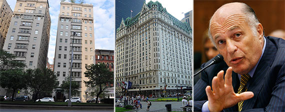 From left: 823 Park Avenue, the Plaza Hotel and Sony CEO Doug Morris