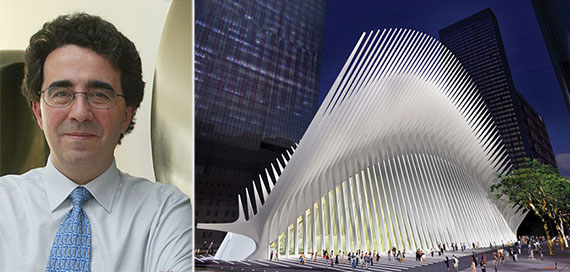 From left: Santiago Calatrava and the World Trade Center PATH station