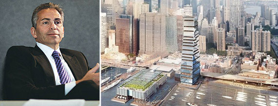 From left: David Weinreb and a rendering of Howard Hughes Corporation's South Street Seaport (Credit: SHoP)