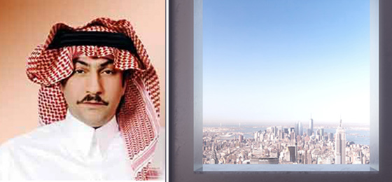 Fawaz Al Hokair and the view from 432 Park (Credit: DBOX for CIM Group/Macklowe Properties)