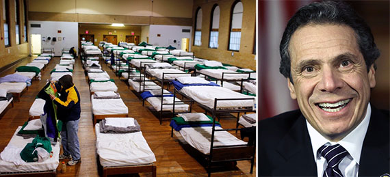 From left: A homeless shelter in New York and Governor Andrew Cuomo