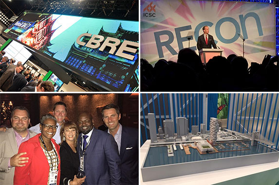 ICSC attendees tweet their way through RECon 2015. (Photos, clockwise from top left: Twitter users @cbreRetail, @FireRunner, @HowardHughesCo and @JustinABeck)