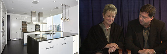 From left: 54th floor apartment at One57 and Rebecca and John Moores