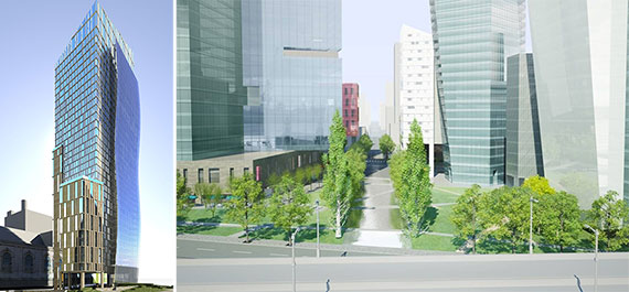 From left: A rendering of 400 West 61st Street (Credit: Goldstein Hill & West) and a rendering of the project (Credit: Extell)