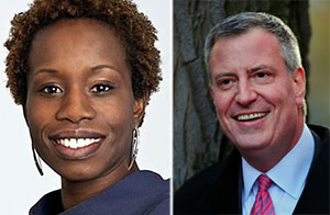 From left: NYCHA Chair Shola Olatoye and Mayor Bill de Blasio