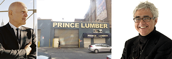 From left: Steve Roth, the Prince Lumber site at 61 Ninth Avenue and Rafael Vinoly
