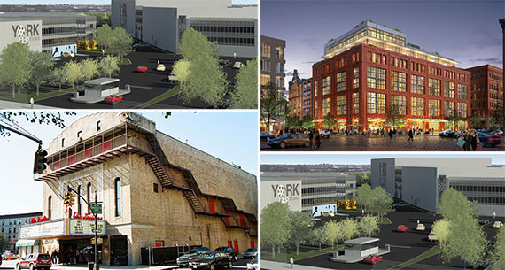 Clockwise from left: A permit of 810 Colgate Avenue in the Bronx (Credit: Gerald Caliendo) , 456 Greenwich Avenue in the West Village (Credit: Stephen B. Jacobs), the Pavilion Theater in Park Slope and a rendering of 810 Colgate Avenue