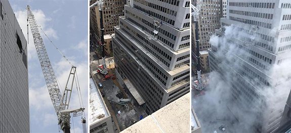 The site of the collapsed crane at 261 Madison Avenue