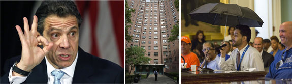 Gov. Cuomo, a leaky NYCHA building and a resident of Clinton Houses in East Harlem making a statement to officials (source: NYDN)