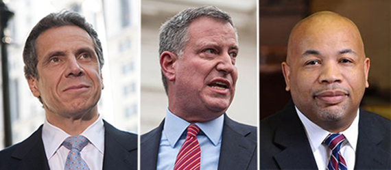 From left: Andrew Cuomo, Bill de Blasio and Carl Heastie
