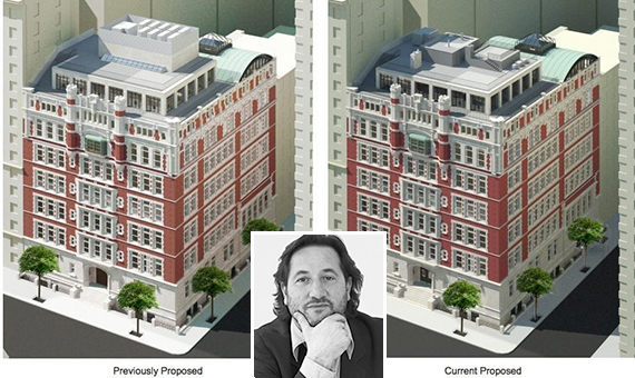 Rendering of 555 West End Avenue (credit: Cary Tamarkin) (inset: Cary Tamarkin)