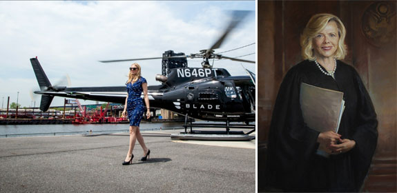 A helicopter arriving in the Hamptons and judge Joanna Seybert