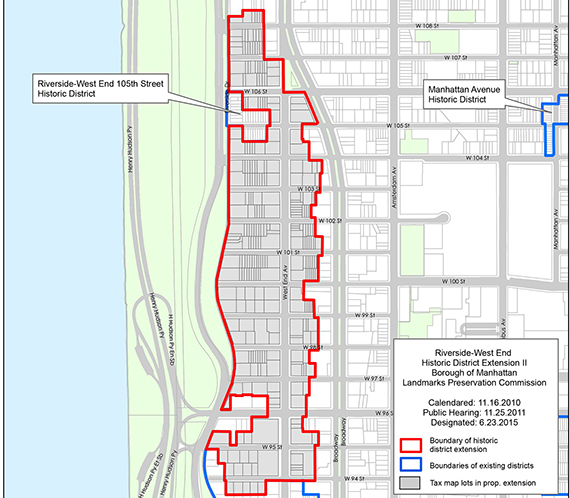 Map of Riverside-West End Historic District Extension II (credit: LPC)
