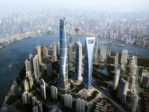 Rendering of the Shanghai Tower in Shanghai, China