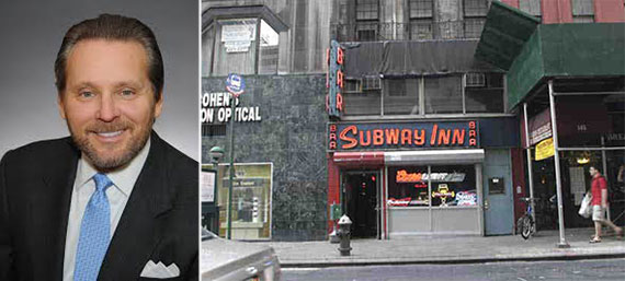 From left: Bob Knakal and the former Subway Inn on East 60th Street