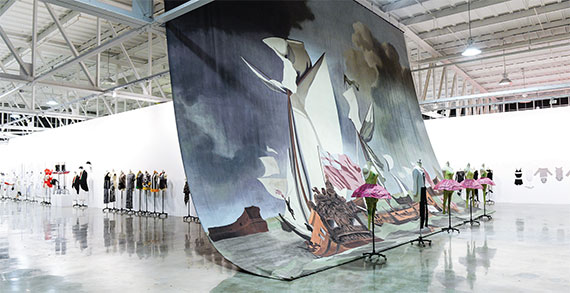 """Making Art Dance,"" one of many installations seen at Mana Contemporary, included a David Salle backdrop and costumes for ""The Elizabethan Phrasing of the Late Albert Ayler,"" a ballet. Photo by Joe Schildhorn."