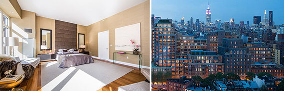 From left: the bedroom at the penthouse at 33 West 56th Street and Rudin Managament's Greenwich Lane