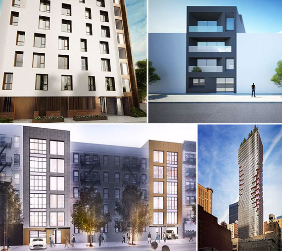 Clockwise from left Renderings of 15 Jackson Street in Williamsburg, 78 Freeman Street in Greenpoint, 75 Nassau Street in the Financial District and 436-442 East 13th Street
