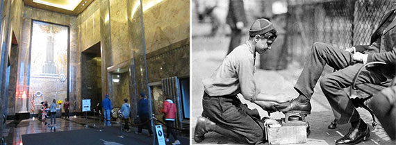 From left: The lobby of the Empire State Building and an old-fashioned shoe shine boy