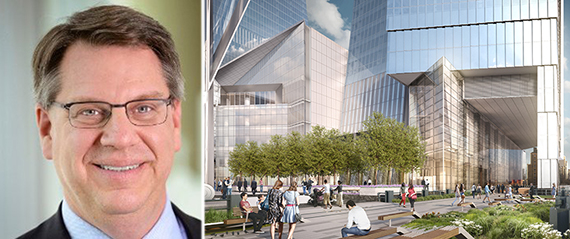 Rich Lesser and rending of 10 Hudson Yards (credit: Related)