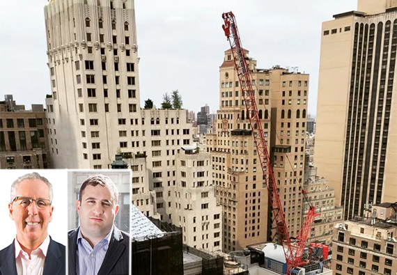 The 220-foot-tall crane at 111 West 57th Street in Midtown (inset, from left: Kevin Maloney and Michael Stern)