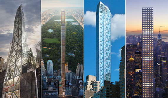From left: the MoMA Tower at 53 West 53rd Street, 111 West 57th Street, One57 and 432 Park on Billionaires' Row