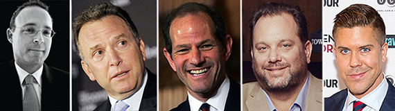 From left: Miki Naftali, Steve Witkoff, Eliot Spitzer, Heiberger and Fredrik Eklund