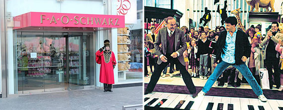 """From left: F.A.O. Schwarz on 59th Street and a scene at the store from the 1988 movie """"Big"""""""