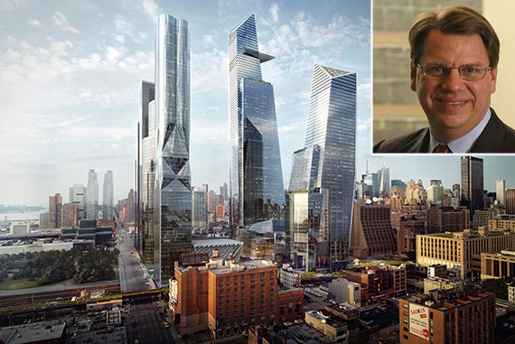 A rendering of Hudson Yards and BCG chief executive officer Rich Lesser