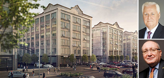 Rendering of Industry City in Sunset Park (inset, top to bottom: Joseph Ripp and Bruce Mosler)