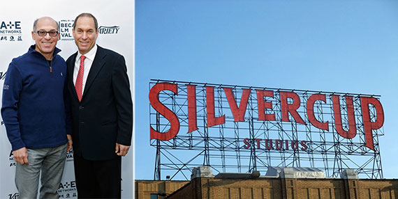 From left: Stuart and Alan Suna and the Silvercup Studios sign in Queens
